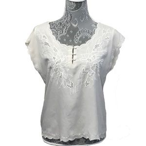 PINS AND NEEDLES embroidered floral cutout top